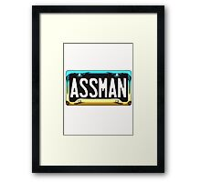 SHINY BLUE/GOLD LICENSE PLATE HOLDER - ASSMAN Framed Print
