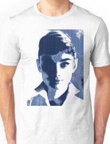 Audrey Hepburn White Shirt Portrait Blue  Unisex T-Shirt