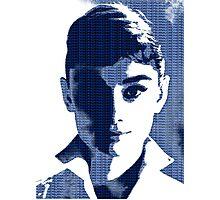 Audrey Hepburn White Shirt Portrait Blue  Photographic Print