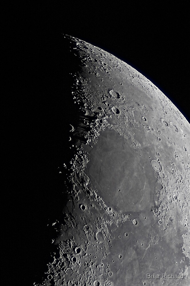 Northern Lunar Pole, Seas of Cold, Serenity, and Tranquility - Landolt Telescope by Briar Richard