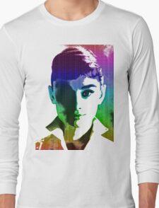 Audrey Hepburn White Shirt Portrait Multicolour  Long Sleeve T-Shirt