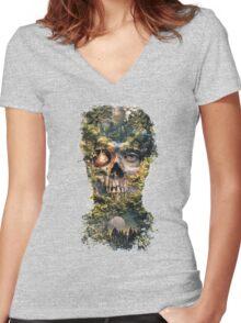 The Gatekeeper Dark Surrealism Art Women's Fitted V-Neck T-Shirt