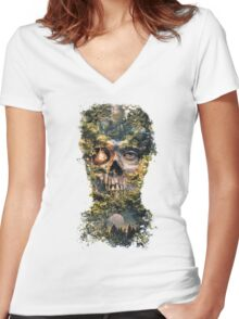 The Gatekeeper Dark Surrealism Art Women's Fitted V-Neck T-Shirt