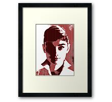 Audrey Hepburn White Shirt Portrait Red  Framed Print