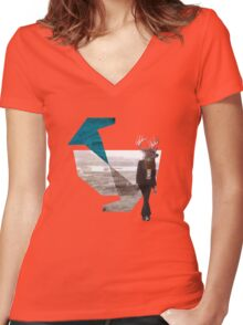Deer over city Women's Fitted V-Neck T-Shirt
