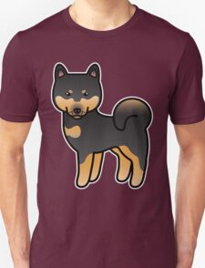 Black And Tan Shiba Inu Dog Cartoon T-Shirt