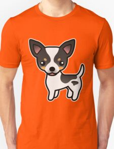 White Tricolor Smooth Coat Chihuahua Cartoon Dog T-Shirt
