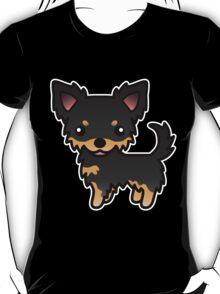 Black And Tan Long Coat Chihuahua Cartoon Dog T-Shirt
