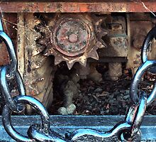 Crown Wheel and Pinion, Steam Train, Glenorchy, Tasmania. by Philip Hallam