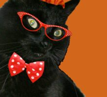 Halloween Card - Black Cat Ready to Party Sticker