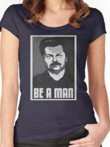Be A Man- Black/White  Women's Fitted Scoop T-Shirt