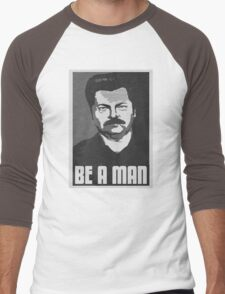 Be A Man- Black/White  Men's Baseball ¾ T-Shirt