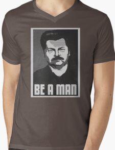 Be A Man- Black/White  Mens V-Neck T-Shirt