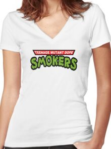 Teenage Mutant Dope Smokers Women's Fitted V-Neck T-Shirt