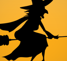 Low Flying Witches Warning Sign Sticker