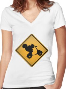 Squirrel on Scooter Warning Sign Women's Fitted V-Neck T-Shirt