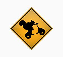 Squirrel on Scooter Warning Sign Unisex T-Shirt