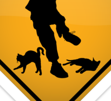 Cats Underfoot Warning Sign Sticker