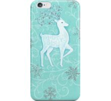 White stag on turquoise iPhone Case/Skin