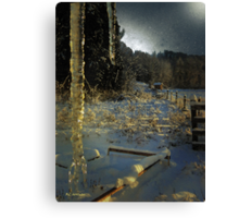 Icicles in Moonlight Canvas Print
