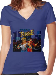 streets of rage Women's Fitted V-Neck T-Shirt