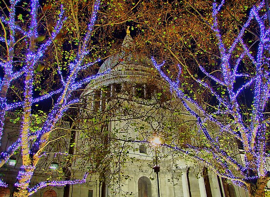 Lights And The Dome - St Pauls - London - HDR by Colin J Williams Photography