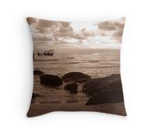 Peaceful Ocean Beach Throw Pillow