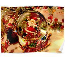 Santa Snow Globe Poster