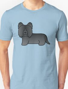 Black Cartoon Skye Terrier Dog T-Shirt