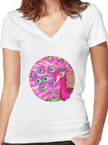 Pink peacock Women's Fitted V-Neck T-Shirt