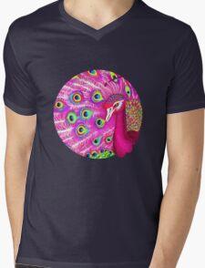 Pink peacock Mens V-Neck T-Shirt