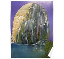 Mountain Waterfall almost in an Oval Poster