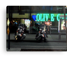 Cops Outside of Olive Garden by the Subway, New York Metal Print