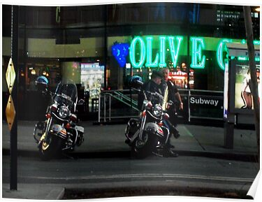 Cops Outside of Olive Garden by the Subway, New York by Andrew Baker