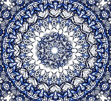 Dark blue flowers mandala by Sviatlana Kandybovich