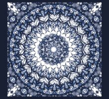 Dark blue flowers mandala Baby Tee