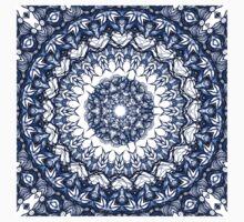 Dark blue flowers mandala Baby Tee