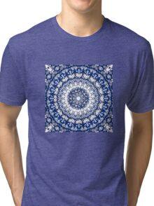 Dark blue flowers mandala Tri-blend T-Shirt