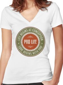 Life Begins At Conception Women's Fitted V-Neck T-Shirt