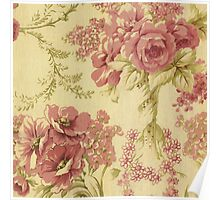 rustic,roses,floral,wall paper,shabby chic,grunge,pattern,chic Poster