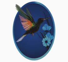 Green Hummingbird-Blue Flowers Oval by Lotacats