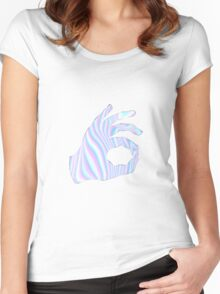 Holographic Ok Emoji Hand Women's Fitted Scoop T-Shirt