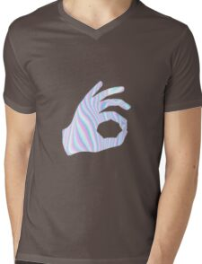 Holographic Ok Emoji Hand Mens V-Neck T-Shirt