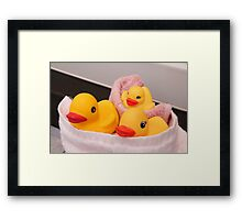"""""""All Wrapped Up"""" - rubber duckies in bathroom Framed Print"""