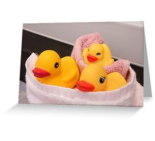 """""""All Wrapped Up"""" - rubber duckies in bathroom Greeting Card"""