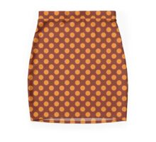 Orange And Rust Polka Dots Pencil Skirt