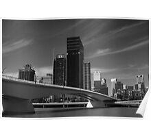 Brisbane City in Black & White Poster