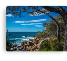 Rocks, Sea and Stripes in the Sky Canvas Print