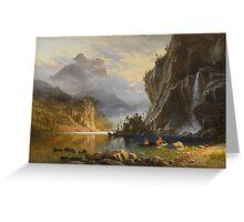 Indians Spear Fishing - Albert Bierstadt Greeting Card