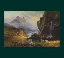 Indians Spear Fishing - Albert Bierstadt T-Shirt